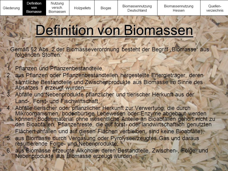 Definition von Biomassen