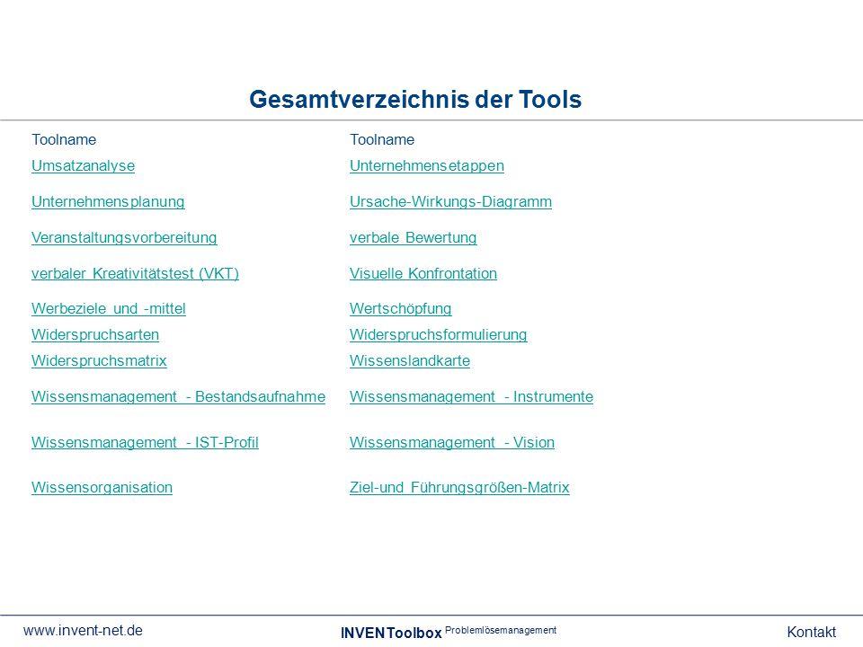 Gesamtverzeichnis der Tools