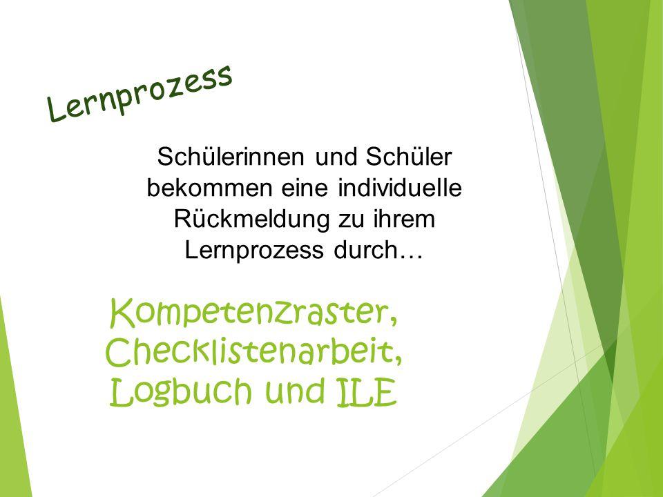 Kompetenzraster, Checklistenarbeit, Logbuch und ILE