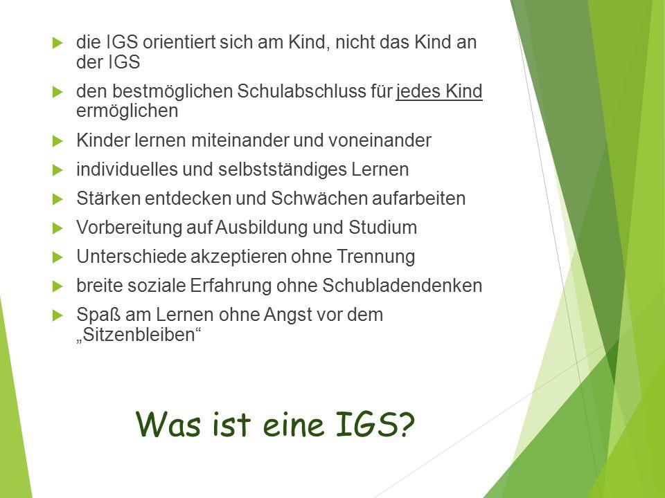 die IGS orientiert sich am Kind, nicht das Kind an der IGS