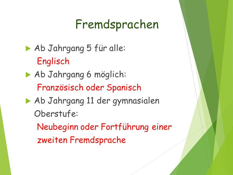 Fremdsprachen Ab Jahrgang 5 für alle: Englisch Ab Jahrgang 6 möglich: