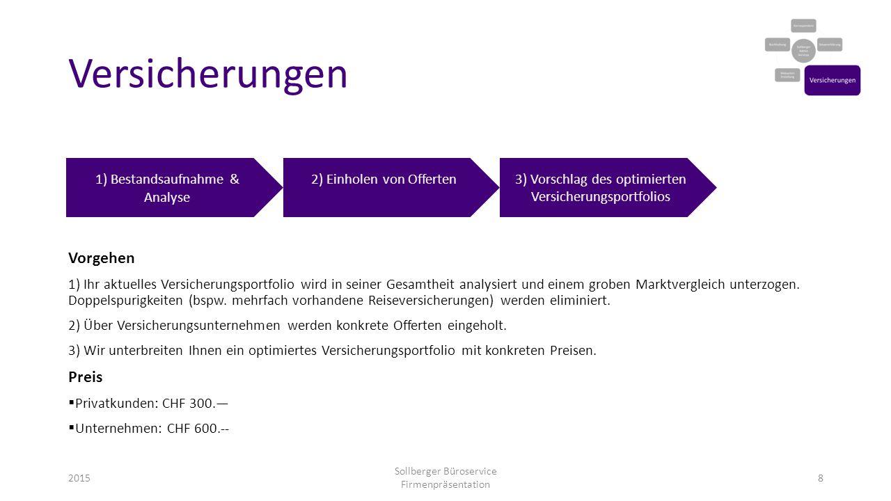 Versicherungen Vorgehen Preis 1) Bestandsaufnahme & Analyse