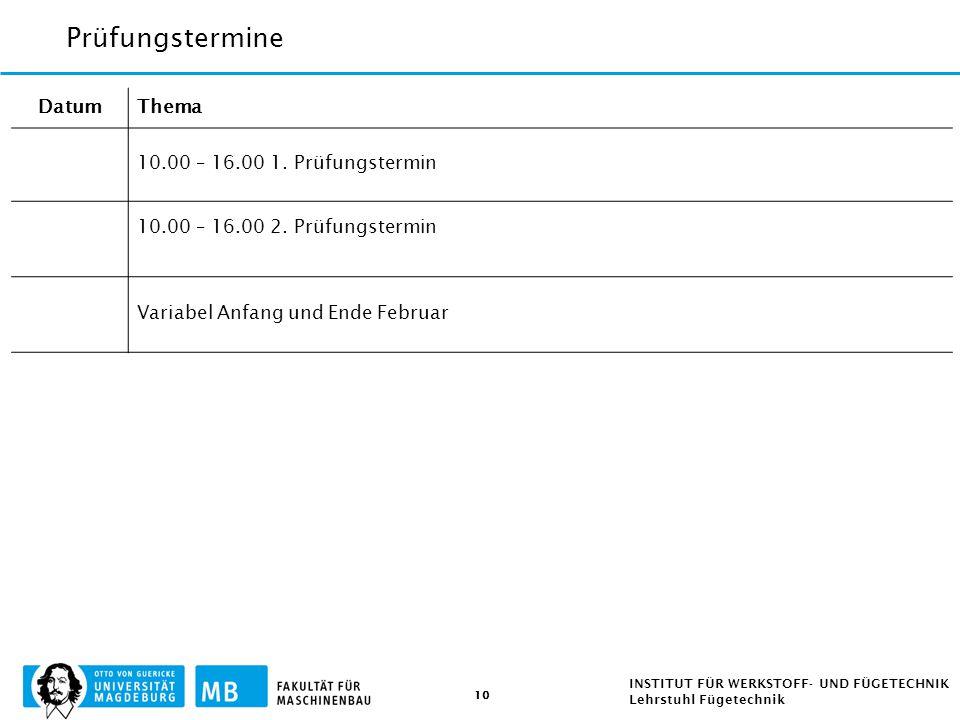 Prüfungstermine Datum Thema 10.00 – 16.00 1. Prüfungstermin
