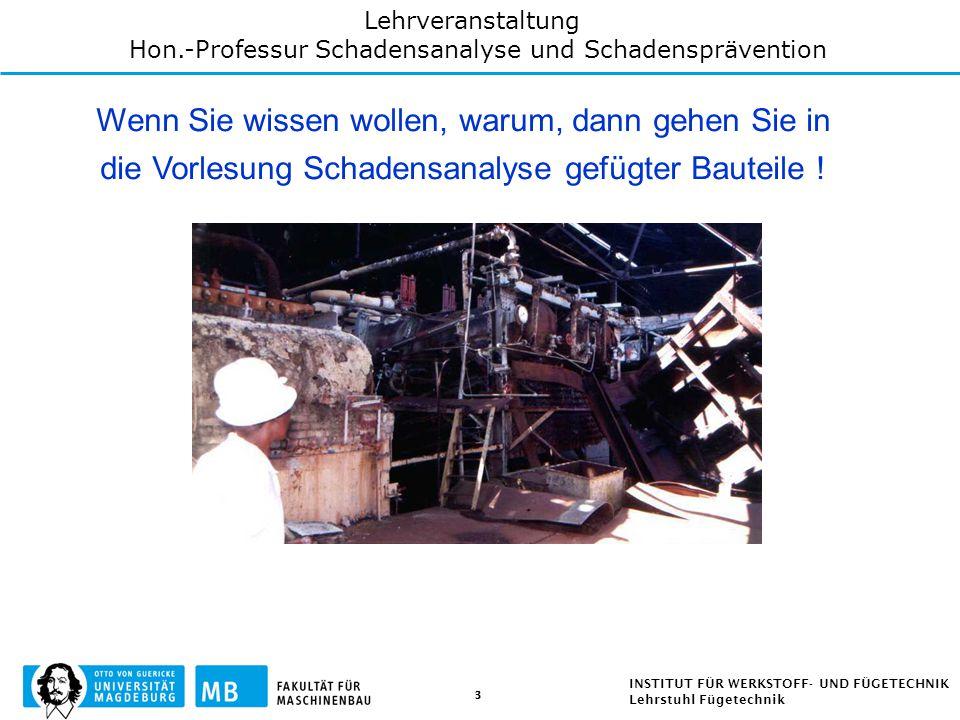 Hon.-Professur Schadensanalyse und Schadensprävention