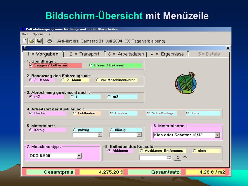 Bildschirm-Übersicht mit Menüzeile