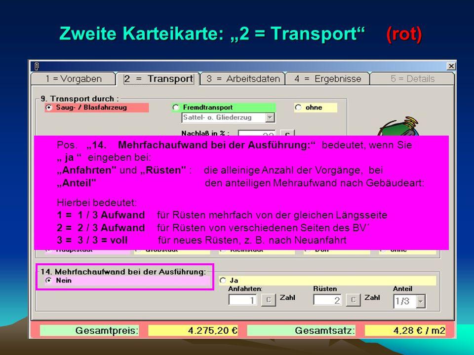 """Zweite Karteikarte: """"2 = Transport (rot)"""