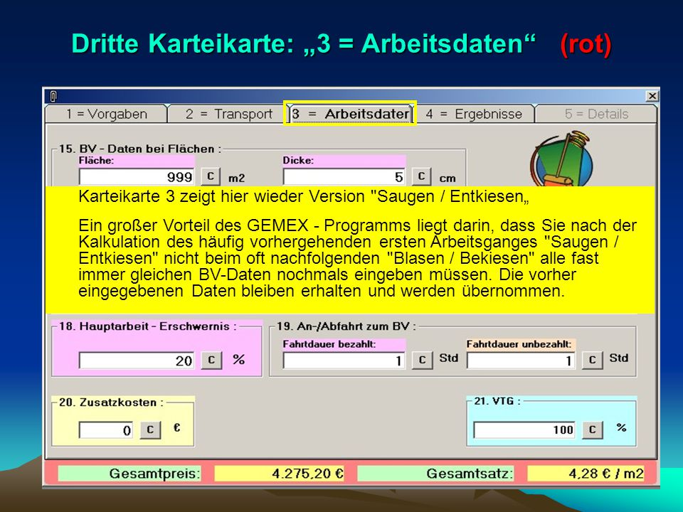 """Dritte Karteikarte: """"3 = Arbeitsdaten (rot)"""