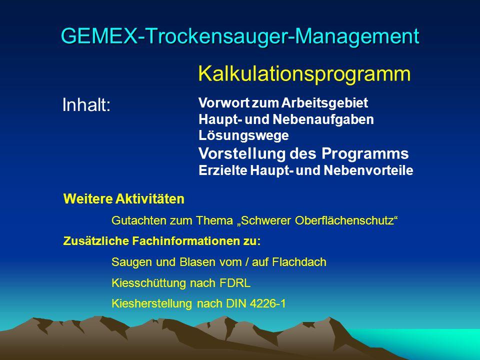 GEMEX-Trockensauger-Management