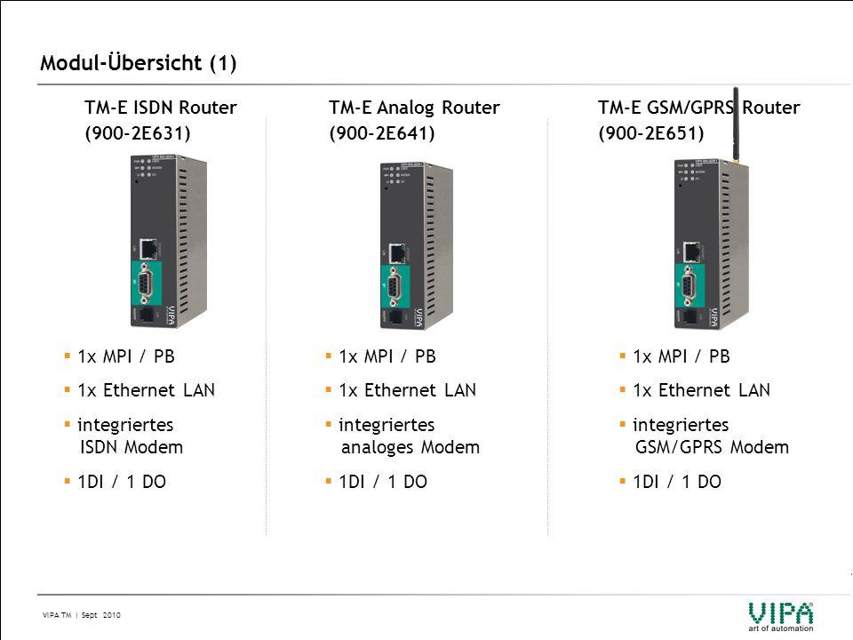 Modul-Übersicht (1) TM-E ISDN Router (900-2E631) TM-E Analog Router