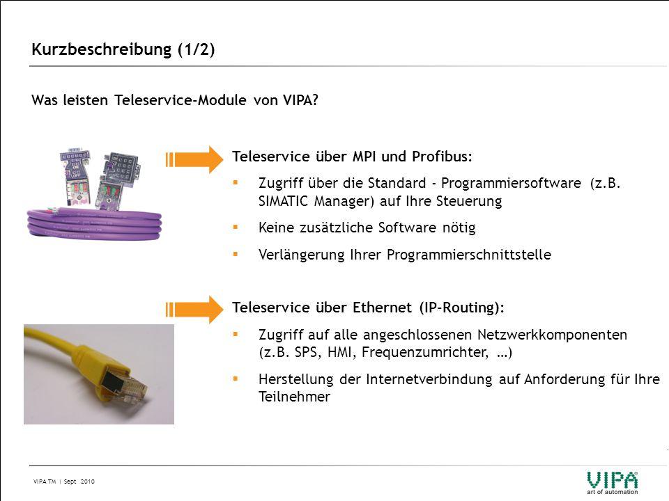 Kurzbeschreibung (1/2) Was leisten Teleservice-Module von VIPA