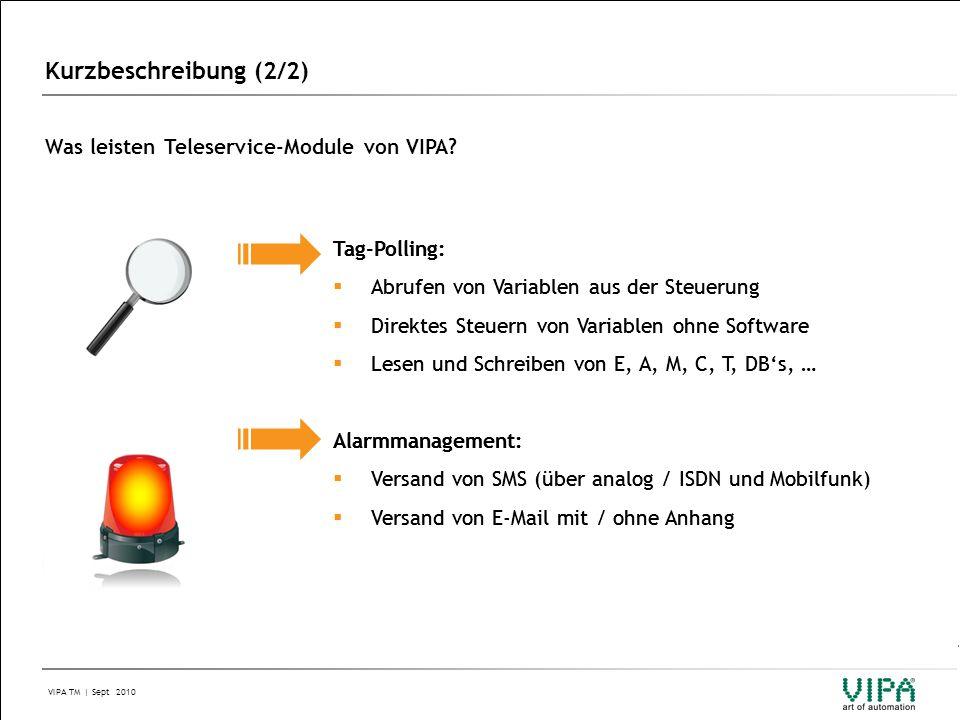 Kurzbeschreibung (2/2) Was leisten Teleservice-Module von VIPA