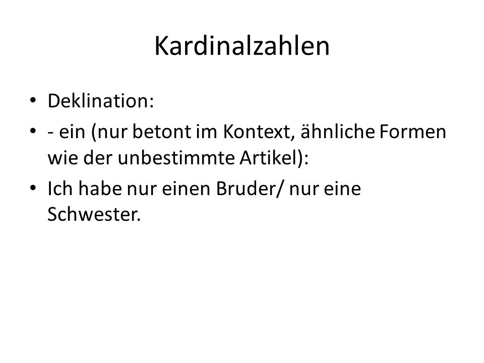 Kardinalzahlen Deklination: