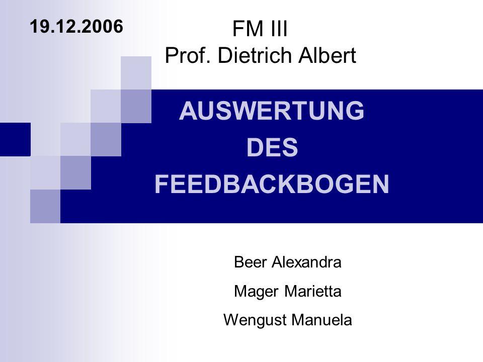 FM III Prof. Dietrich Albert