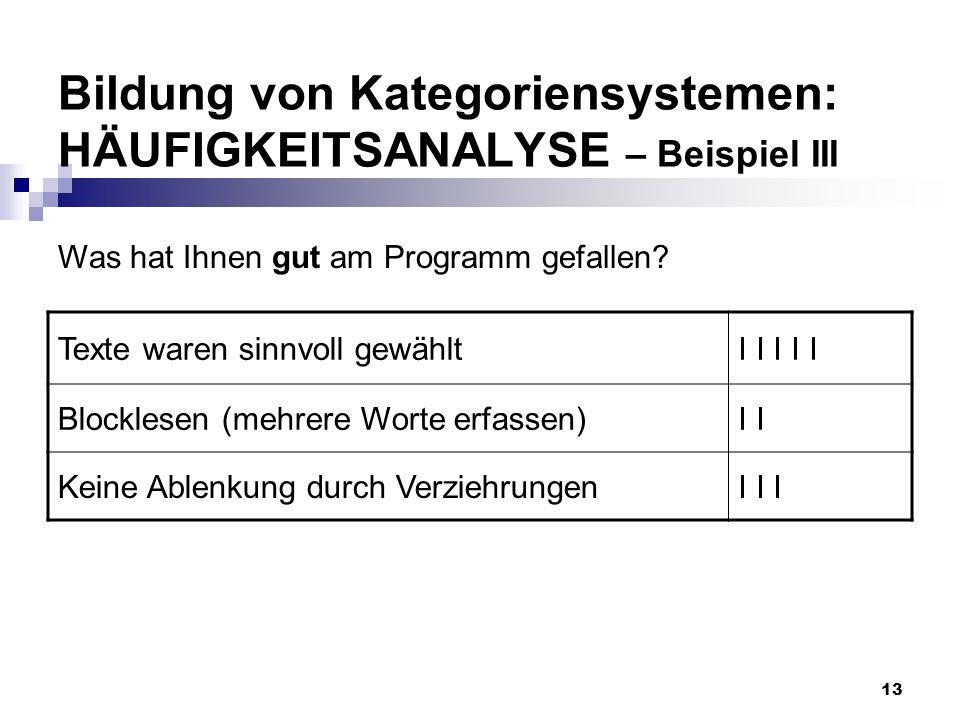 Bildung von Kategoriensystemen: HÄUFIGKEITSANALYSE – Beispiel III