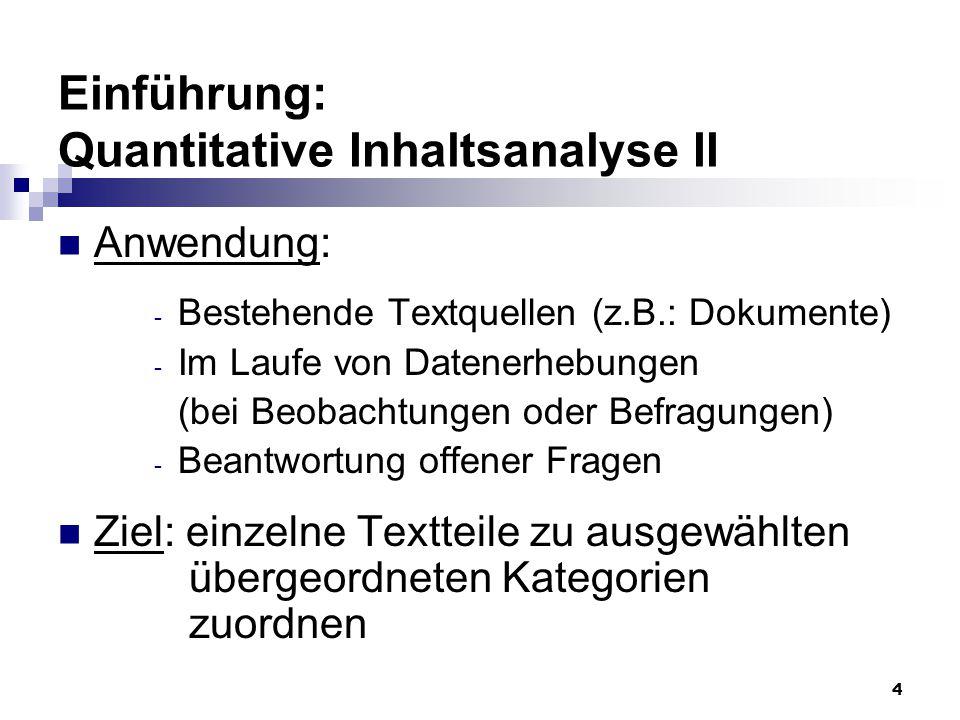 Einführung: Quantitative Inhaltsanalyse II