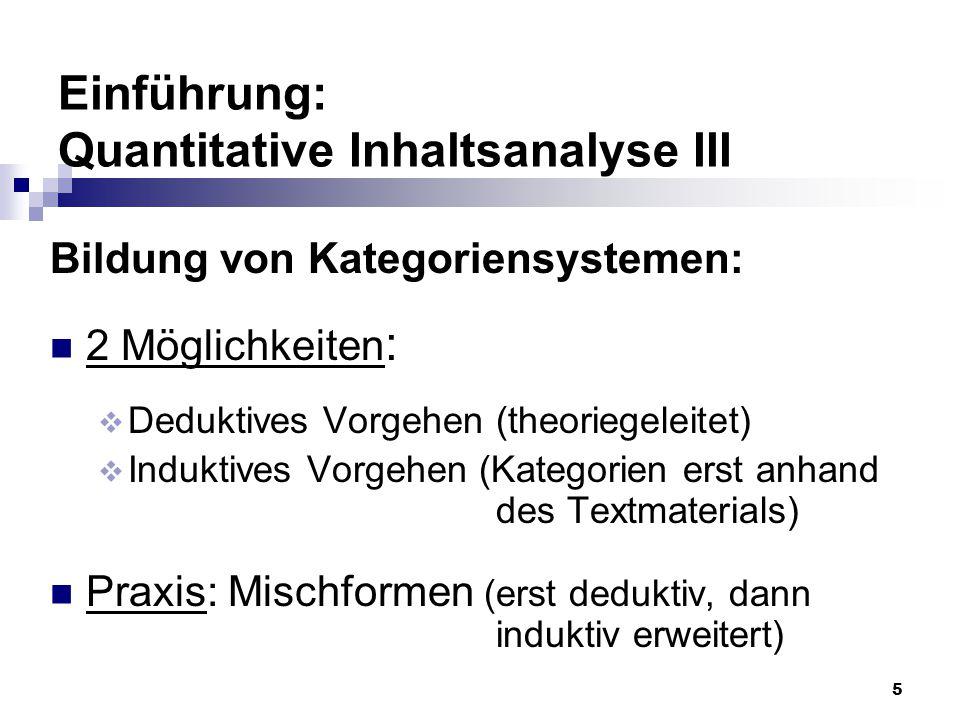 Einführung: Quantitative Inhaltsanalyse III