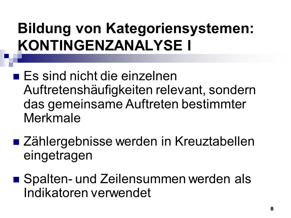 Bildung von Kategoriensystemen: KONTINGENZANALYSE I