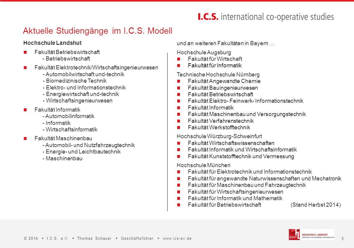 Aktuelle Studiengänge im I.C.S. Modell