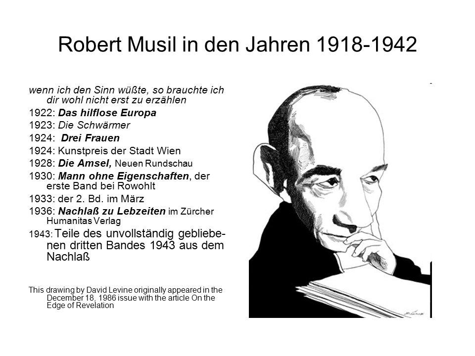 Robert Musil in den Jahren 1918-1942