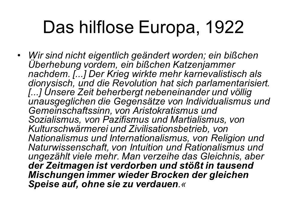 Das hilflose Europa, 1922