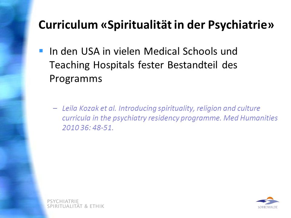 Curriculum «Spiritualität in der Psychiatrie»