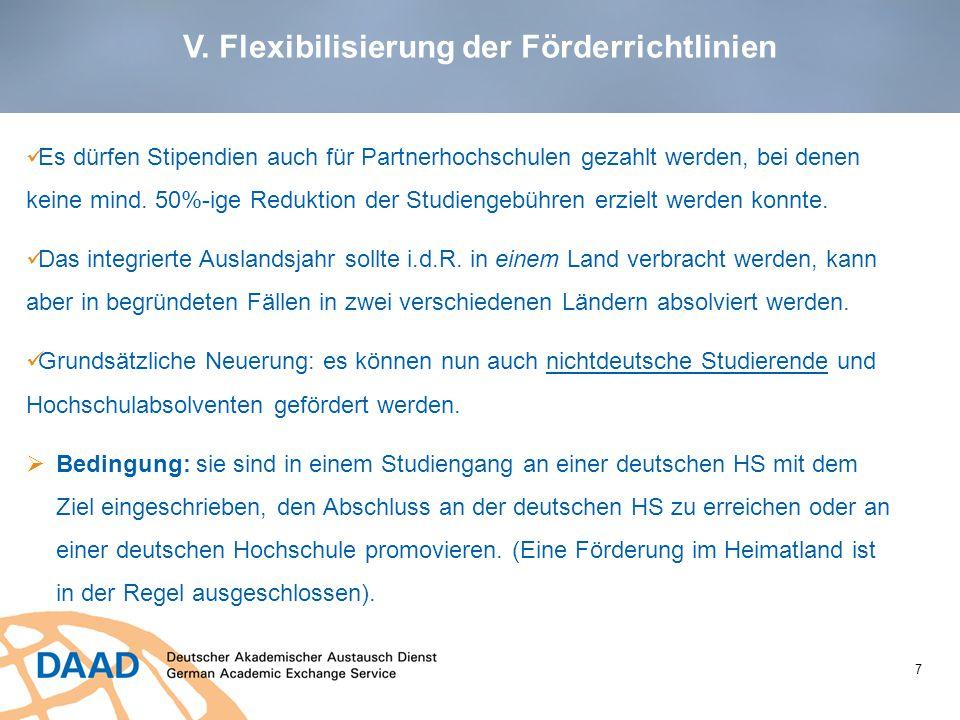 V. Flexibilisierung der Förderrichtlinien