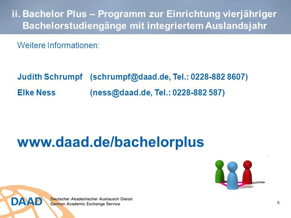 ii. Bachelor Plus – Programm zur Einrichtung vierjähriger Bachelorstudiengänge mit integriertem Auslandsjahr