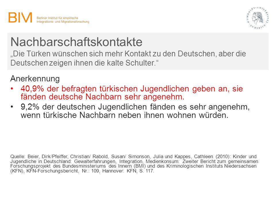 """Nachbarschaftskontakte """"Die Türken wünschen sich mehr Kontakt zu den Deutschen, aber die Deutschen zeigen ihnen die kalte Schulter."""