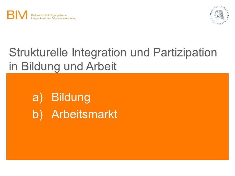 Strukturelle Integration und Partizipation in Bildung und Arbeit