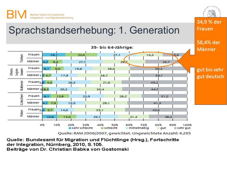 Sprachstandserhebung: 1. Generation