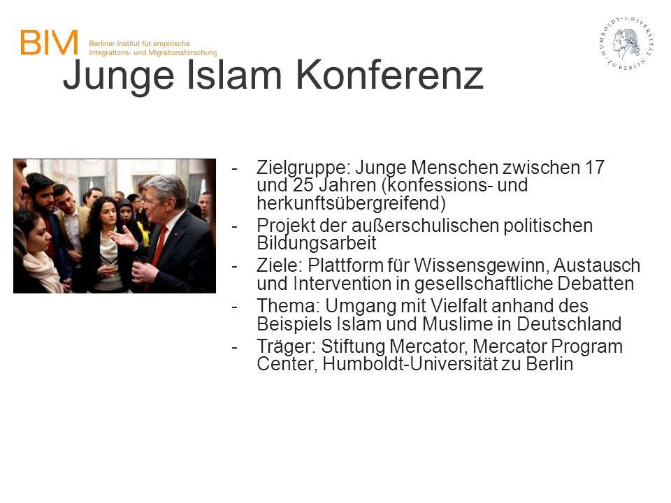 Junge Islam Konferenz Zielgruppe: Junge Menschen zwischen 17 und 25 Jahren (konfessions- und herkunftsübergreifend)