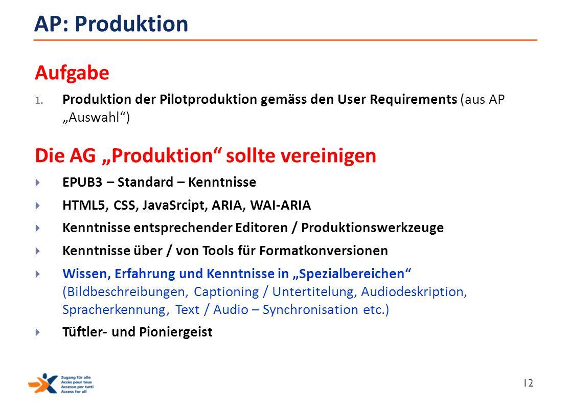 """AP: Produktion Aufgabe Die AG """"Produktion sollte vereinigen"""