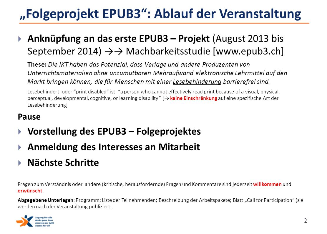 """""""Folgeprojekt EPUB3 : Ablauf der Veranstaltung"""