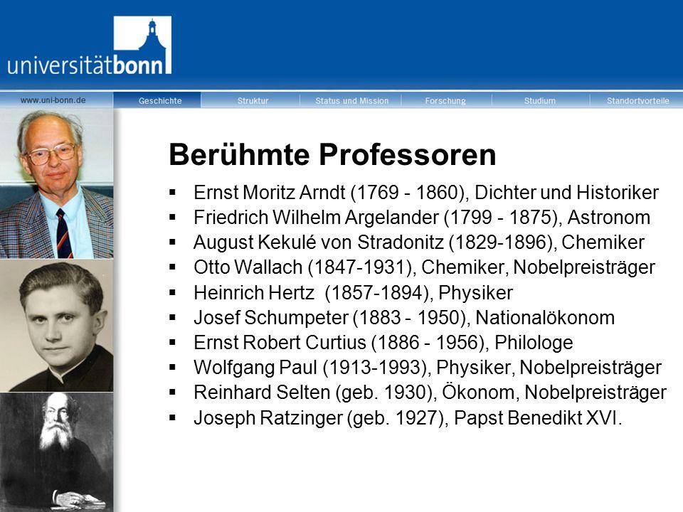Berühmte Professoren Ernst Moritz Arndt (1769 - 1860), Dichter und Historiker. Friedrich Wilhelm Argelander (1799 - 1875), Astronom.