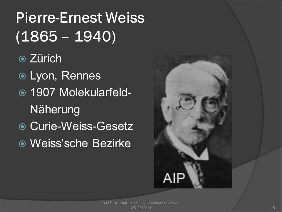 Pierre-Ernest Weiss (1865 – 1940)
