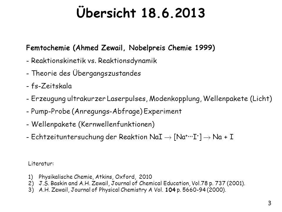 Übersicht 18.6.2013 Femtochemie (Ahmed Zewail, Nobelpreis Chemie 1999)