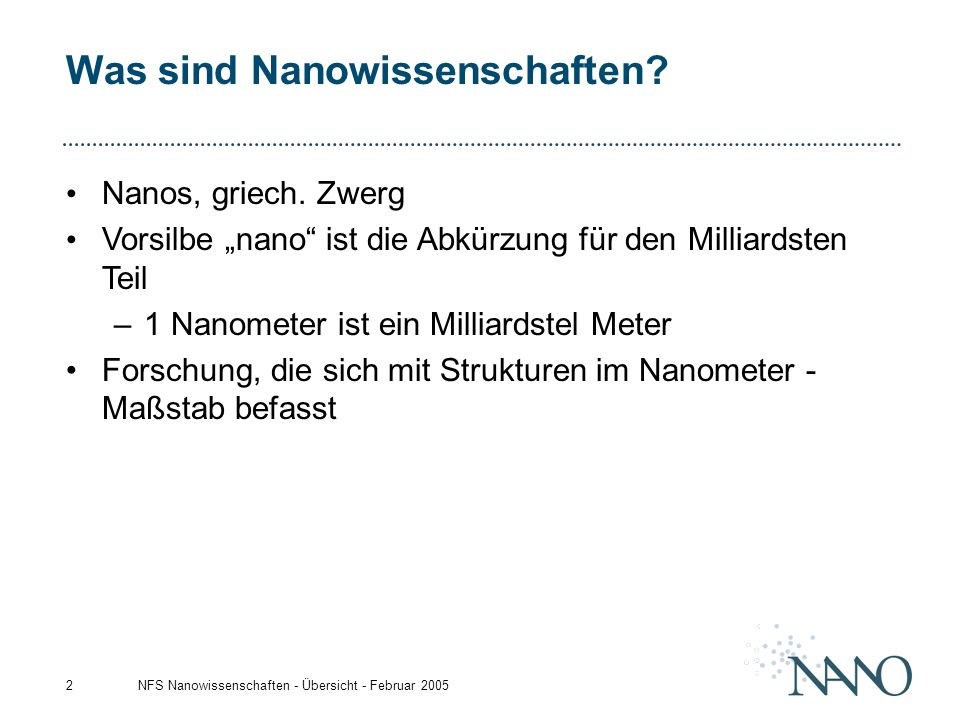 Was sind Nanowissenschaften