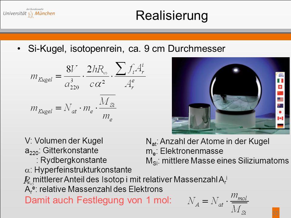 Realisierung Si-Kugel, isotopenrein, ca. 9 cm Durchmesser