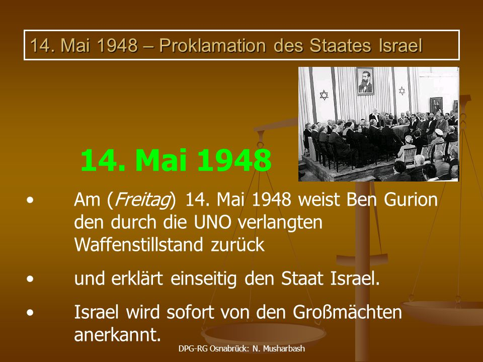 14. Mai 1948 – Proklamation des Staates Israel