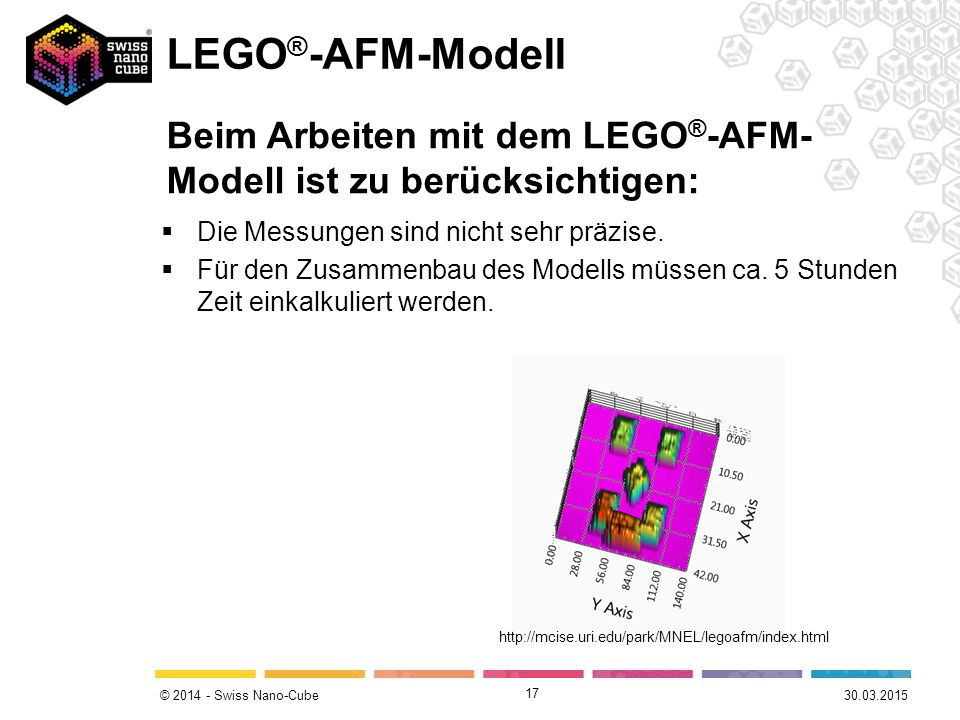 LEGO®-AFM-Modell Beim Arbeiten mit dem LEGO®-AFM-Modell ist zu berücksichtigen: Die Messungen sind nicht sehr präzise.