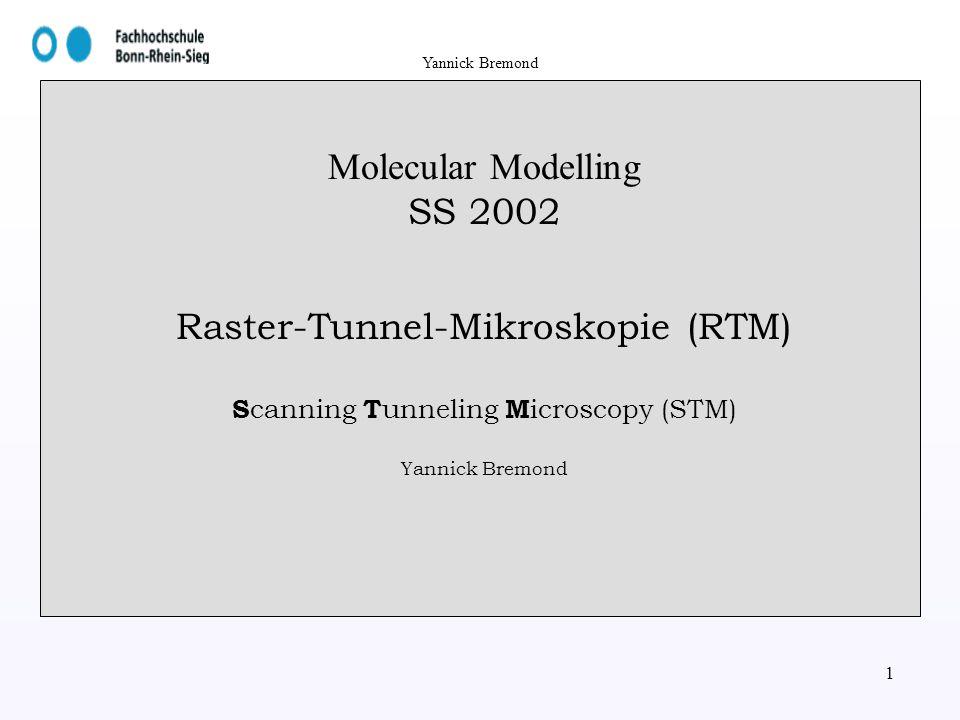 Molecular Modelling SS 2002 Raster-Tunnel-Mikroskopie (RTM) Scanning Tunneling Microscopy (STM) Yannick Bremond