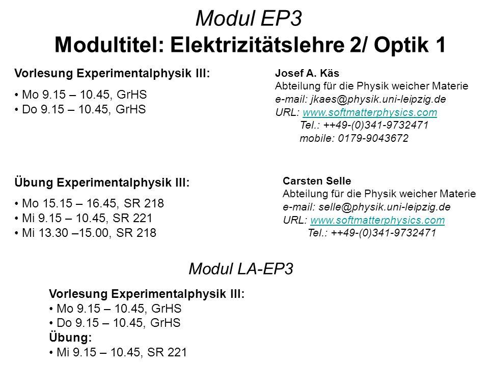 Modultitel: Elektrizitätslehre 2/ Optik 1
