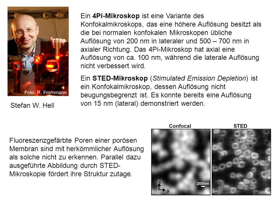 Ein 4Pi-Mikroskop ist eine Variante des Konfokalmikroskops, das eine höhere Auflösung besitzt als die bei normalen konfokalen Mikroskopen übliche Auflösung von 200 nm in lateraler und 500 – 700 nm in axialer Richtung. Das 4Pi-Mikroskop hat axial eine Auflösung von ca. 100 nm, während die laterale Auflösung nicht verbessert wird.