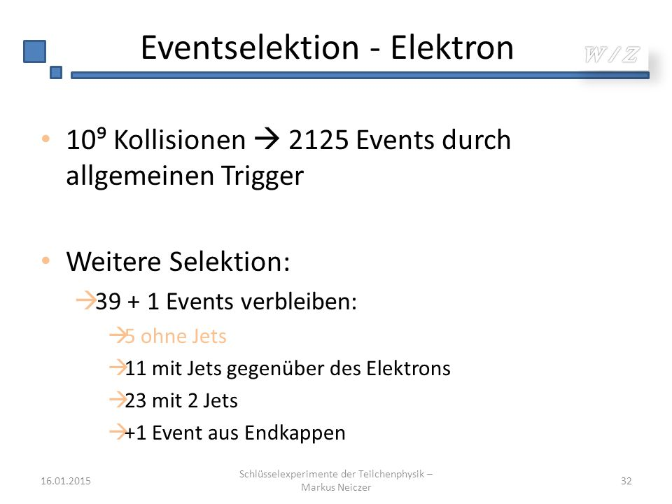 Eventselektion - Elektron