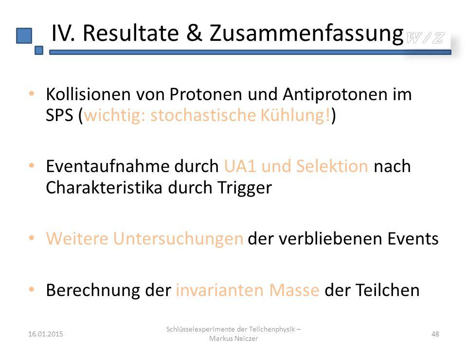 IV. Resultate & Zusammenfassung