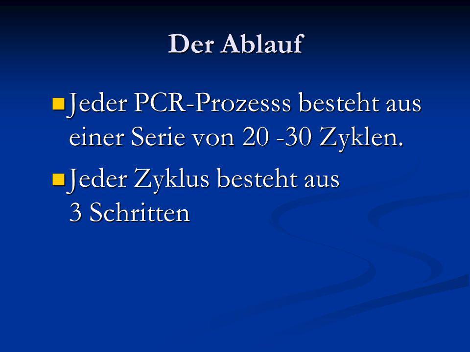 Der Ablauf Jeder PCR-Prozesss besteht aus einer Serie von 20 -30 Zyklen.