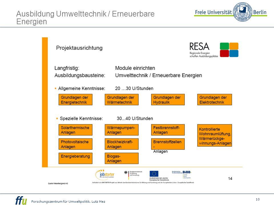 Ausbildung Umwelttechnik / Erneuerbare Energien