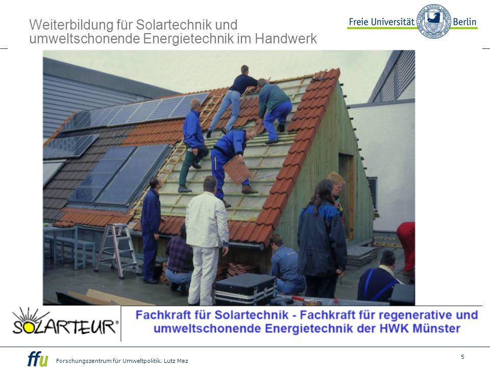 Weiterbildung für Solartechnik und umweltschonende Energietechnik im Handwerk