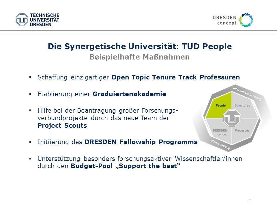 Die Synergetische Universität: TUD People Beispielhafte Maßnahmen