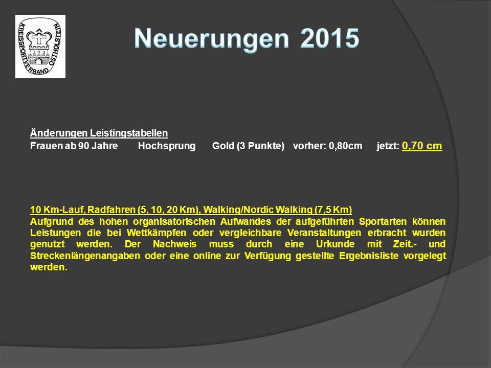 Neuerungen 2015 Änderungen Leistingstabellen